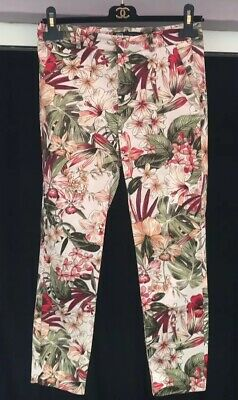 Zara Floral Trousers Size S 10 W28 Cigarette Slim Palm Leaf Tailored Blogger