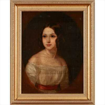 John Sargent British / USA, Portrait of a Young Girl, Antique Oil Painting