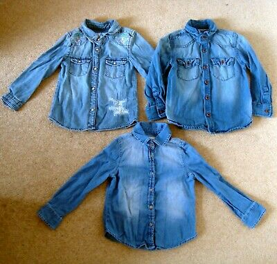 3x Girl's NEXT/DENIM CO. Denim Shirts 2-3 Yrs Blue Tops Bundle Job Lot