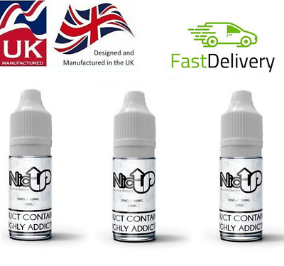Nicotine Shots 1X 10ml - 18mg/ml By NicUP Nic Shots 70%VG or 50%VG - Premium -UK