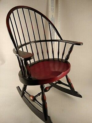 Windsor Spindle High Back Wood Doll Size Rocking Chair Contour Seat