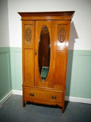 Antique Victorian Satin Wood Wardrobe Vintage Single Wardrobe Gents Compactum