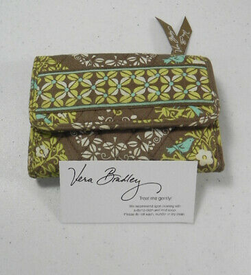 VERA BRADLEY Euro Wallet Retired Sittin In A Tree Print Green Blue New
