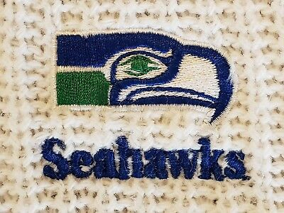 Vtg Seattle Seahawks Sweater Mens L White Acrylic Embroider Long Sleeve 70s USA