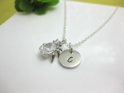 Personalised Silver Cubic Zirconia Spider Necklace with Initial Gift
