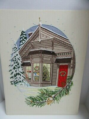 Finished Crewel Embroidery Paragon Silent Night Christmas Holiday Snow Completed
