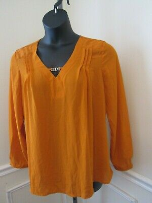 NY Collection Women's Size L  Burnt Orange w/ Gold  Pendant Blouse EUC