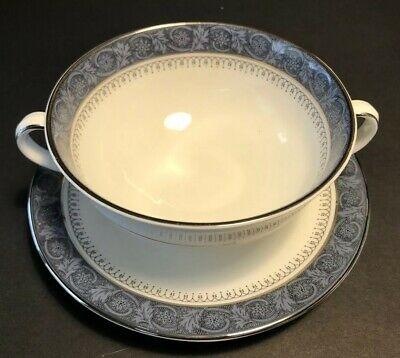Royal Doulton China SHERBROOKE 4 Double Handled Cream Soup Bowls & Saucers Exc