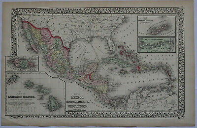 "Original 1872 Mexico, Caribbean + Hawaii - Mitchell's map 23.3"" x 15.2"" Antique"