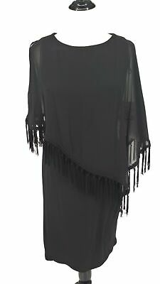 New RM Richards Size 12 Dress Black Tank with Sheer poncho overlay Knee Length