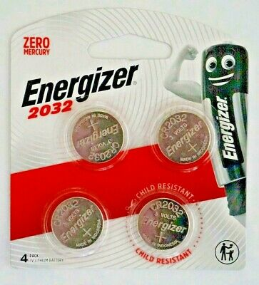 Energizer 2032 - 4 PACK 3V Lithium Coin/Button Cell Batteries Zero Mercury FSP