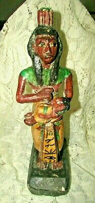 """Rare Pharaonic Statue, Ancient Egyptian Wood Carvings & Enamel. """"HOLD A TOT"""""""