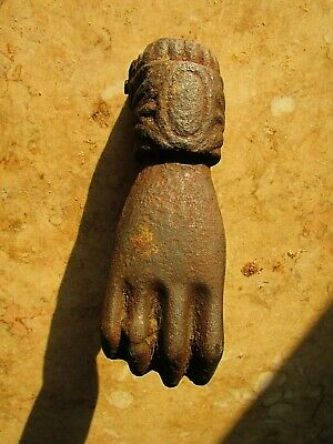 Vintage Antique Big Hand Door Knocker Cast Iron Egyptian Architectural 1890's #3