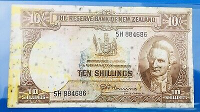 New Zealand 10 Shillings Fleming Banknote.