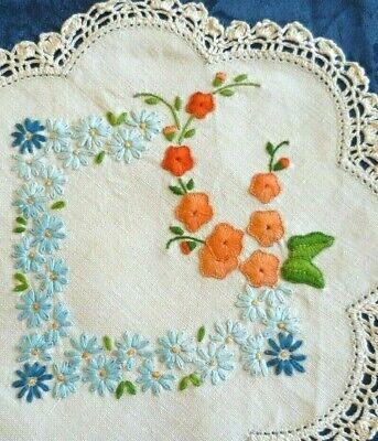 Pair Vintage Hand Embroidered Apricot & Blue Floral Doilies Cream Crocheted Edge