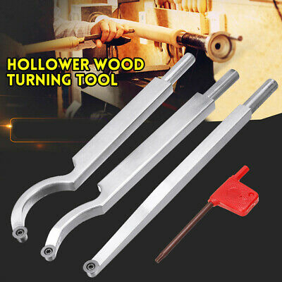 Wood Turning Tool Shank Wrench Straight/Small/Big Curved Hollower Part Set Kit