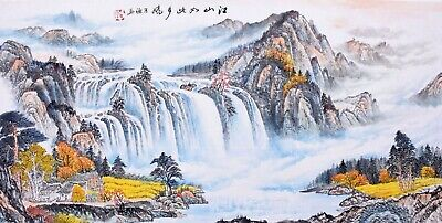 ORIENTAL ASIAN FINE ART CHINESE SANSUI WATERCOLOR PAINTING-Waterfall&Mountains