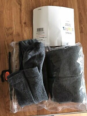 3 X Grey School Tights 11-12 Years George Supersoft Cotton Rich 2 New 1 Used