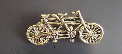 Ideal for cycling fanatics. Gold Plated Tandem Bicycle Brooch//Pin