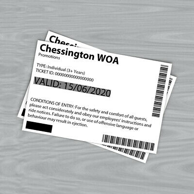 Pair of Chessington World of Adventures Tickets for Monday June 15 2020 RRP £104