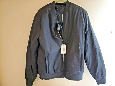 Hugo Boss Men's Skyles Slim Black Quilted Reversible Bomber Jacket Sz Large
