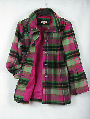 P697/47 John Lewis Warm Wool Blend Pink/Green Check Coat , age 12 152 cm/78 cm