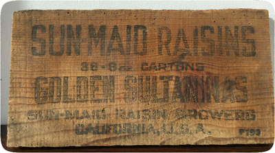Vintage Sun Maid Raisins - Advertising Sign - Small Wooden Rustic - Old Pine