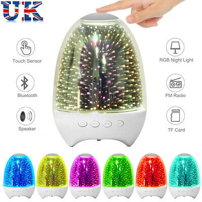 LED Night Light Bluetooth Speaker Bedside Lamp Touch Control Color Rechargeable