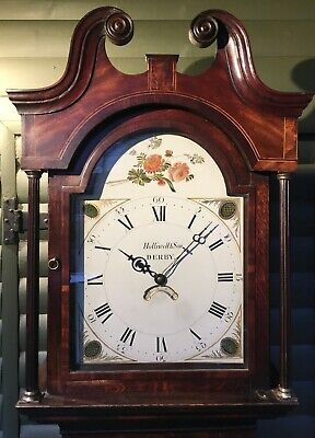 Antique painted dial longcase clock signed Holliwell & son Derby (30 hr)