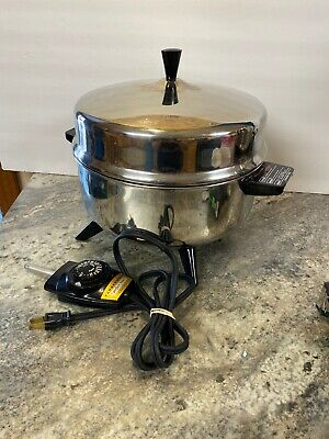 Vtg Farberware 5Qt Stainless Pot-Pourri Electric Cooker Deep Skillet Fryer 320-A