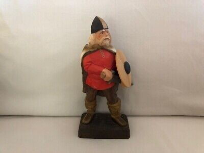 Vintage Henning Norway Hand Carved Wood Viking Figurine Norwegian