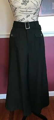 Who What Where Women's Wide Leg Olive Pants Front Pockets W/Cute Belt Size 6