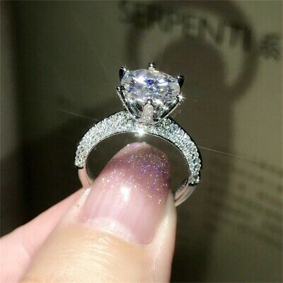 100% REAL 2CT Lab Created SONA Diamond Engagement Ring 925 Sterling Silver Round
