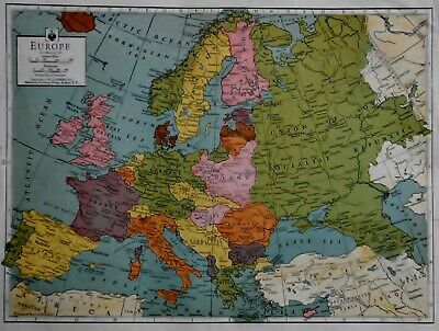 Vintage 1942 World War 2 WWII Colored Atlas Map Of Europe & Atlantic Ocean L@@K!