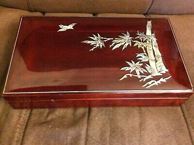 Lacquered mother of pearl box bamboo and flying bird