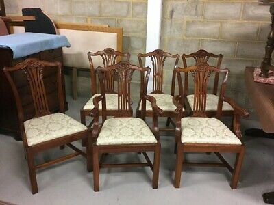 A Set of Six Chippendale Style Mahogany Dining Chairs made by Bevan Funnell
