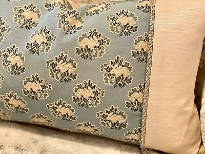 "Brunschwig & Fils ""Petit Lapin"" Peacock Blue With Braided Trim Small Pillow"