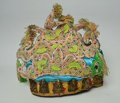 Rare old Chinese embroidered hat with metal Buddhist symbols