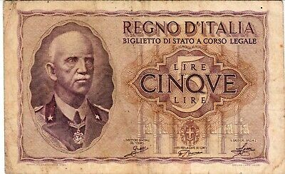 Italy 1940 5 Lire bank note