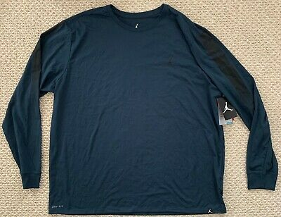 NWT Nike Air Jordan Scorch Dri-Fit Long Sleeve Basketball Tshirt Blue 3XL XXXL