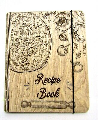 Wooden Blank Recipe Book Binder Custom Cookbook Notebook Family, Wood Cover. NEW