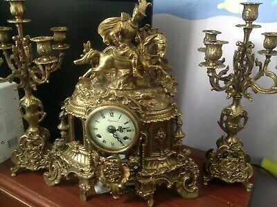 Imperial Franz Hermle German Gilt brass mantle clock w candelabras french style