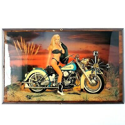 Vintage Harley Davidson Wooden Lacquered Wall Clock Bikini Women Tested & Works