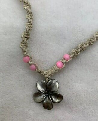 Mauna Kai Hawaii Hemp Necklace Pink Beads And Silver Tone Flower Necklace 16""