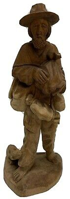 Antique Folk Art Wood Carving Figure Man Carved Caricature Black Forest 13""