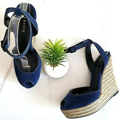 THEORY Espadrille Wedge Heels Sandals Womens Size 39 9 Blue Suede Peep Toe Shoes
