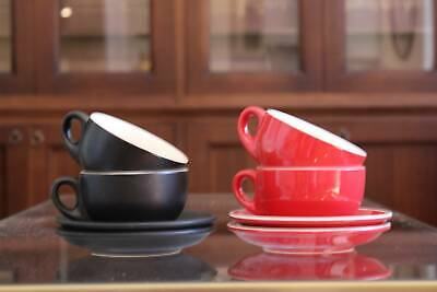 CAFE STYLE  Cups&Saucer** RED & BLACK **LIKE NEW**29Sets