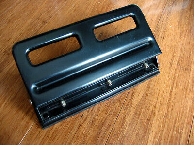 Used 3 Hole Desktop Paper Card Puncher Precision Capacity Office Black