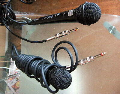 2x Bleat Karaoke Sing Along Dynamic Mic Microphones BT-720 with cables & switch