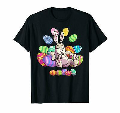 Easter Lazy Bunny Colorful Eggs Happy Holiday Family Friends Black T-shirt S-6XL